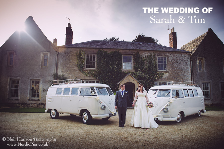 Bride and Groom at Caswell House with VW Camper Vans