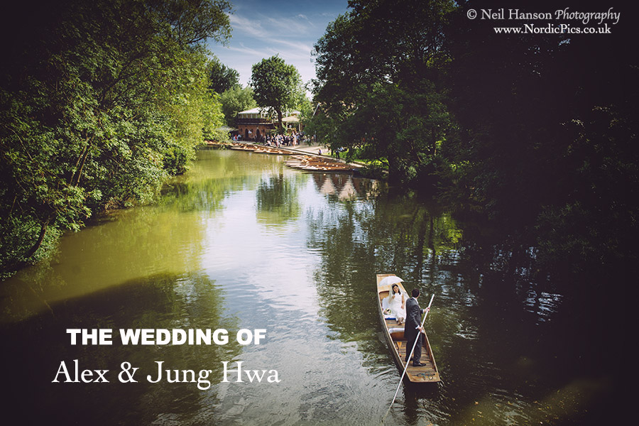 Alex & Jung Hwa punting along the river Thames to their Wedding reception at The Cherwell Boathouse