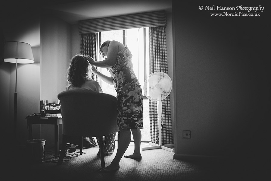 Bride preparations before a wedding at University College Oxford
