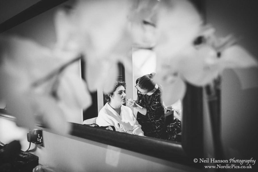 Bridesmaids getting ready for a Caswell House Winter Wedding